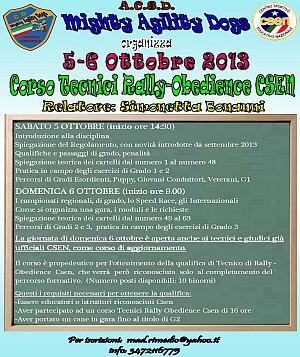 Corso tecnici Rally-Obedience CSEN – 5-6 ottobre 2013